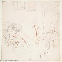 【打印级】SMR181514020-维亚尔爱德华Edouard Vuillard法国纳比派代表画家高清那比派绘画作品素描手稿底稿图片资料-27M-2755X3548