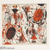 【打印级】YHR181417137-二十世纪绘画大师西班牙超现实主义画家米罗Joan Miro绘画作品高清图片抽象画作品集-SéRIE NOIRE ET ROUGE-21M-3200X2307