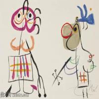 【欣赏级】YHR181417079-二十世纪绘画大师西班牙超现实主义画家米罗Joan Miro绘画作品高清图片抽象画作品集-L'ENFANCE D'UBU-18M-3199X2060