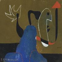 【打印级】YHR181417141-二十世纪绘画大师西班牙超现实主义画家米罗Joan Miro绘画作品高清图片抽象画作品集-FEMME ASSISE-21M-3200X2321