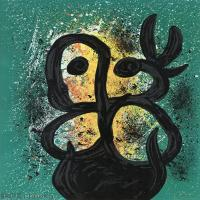 【打印级】YHR181417138-二十世纪绘画大师西班牙超现实主义画家米罗Joan Miro绘画作品高清图片抽象画作品集-Femme al a colombe.-21M-2298X3216