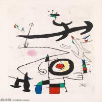 【欣赏级】YHR181417073-二十世纪绘画大师西班牙超现实主义画家米罗Joan Miro绘画作品高清图片抽象画作品集-Village d'oiseaux-18M-2122X3000