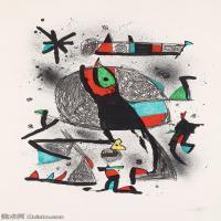 【欣赏级】YHR181417063-二十世纪绘画大师西班牙超现实主义画家米罗Joan Miro绘画作品高清图片抽象画作品集-Paysanne aux oiseaux-17M-2045X3000