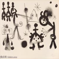 【打印级】YHR181417148-二十世纪绘画大师西班牙超现实主义画家米罗Joan Miro绘画作品高清图片抽象画作品集--Utan titel, ur Album 13-21M-3000X2495