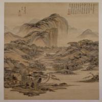 王鉴仿大痴山水图轴--清朝-山水-中国清朝山水画作品