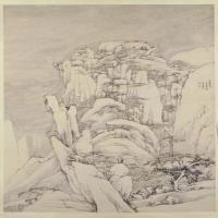 弘仁西岩松雪图轴-清朝-山水-中国清朝山水画作品