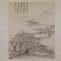 吴历柳村秋思图轴-清朝-山水-中国清朝山水画作品