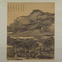龚贤云壑松荫图轴-清朝-山水-中国清朝山水画作品