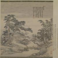 王�夏五吟梅图轴-清朝-山水-中国清朝山水画作品