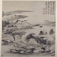 石涛横塘曳履图轴-清朝-山水-中国清朝山水画赏析
