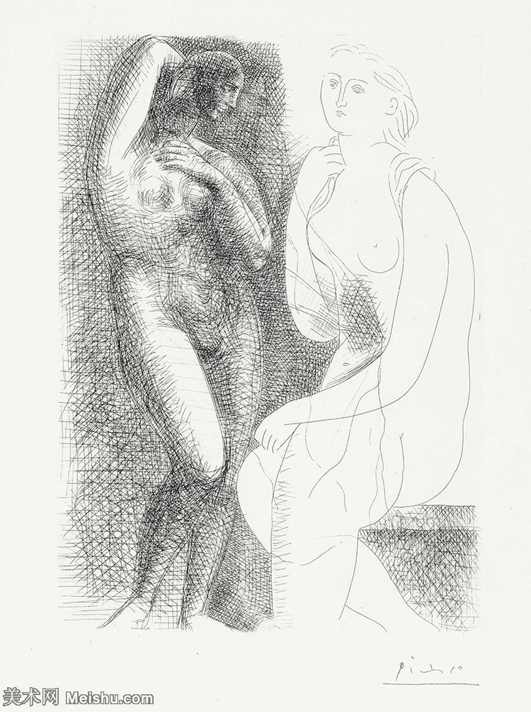 【打印级】SMR181128120-西班牙画家巴勃罗毕加索Pablo Picasso现代派素描毕加索手稿高清图片毕加索素