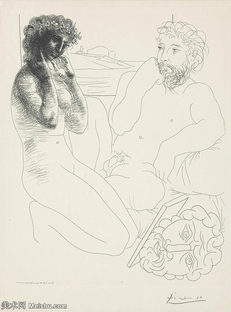 【打印级】SMR181128114-西班牙画家巴勃罗毕加索Pablo Picasso现代派素描毕加索手稿高清图片毕加索素