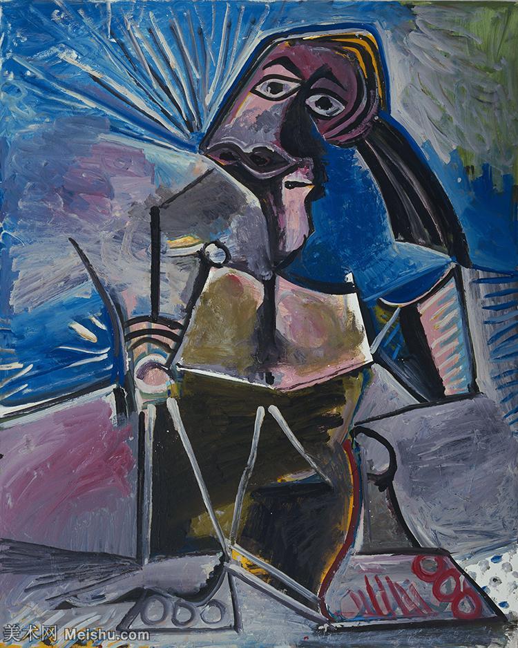 【印刷级】YHR181125164-西班牙画家巴勃罗毕加索PabloPicasso现代派绘画作品高清图片抽象油画高清图片