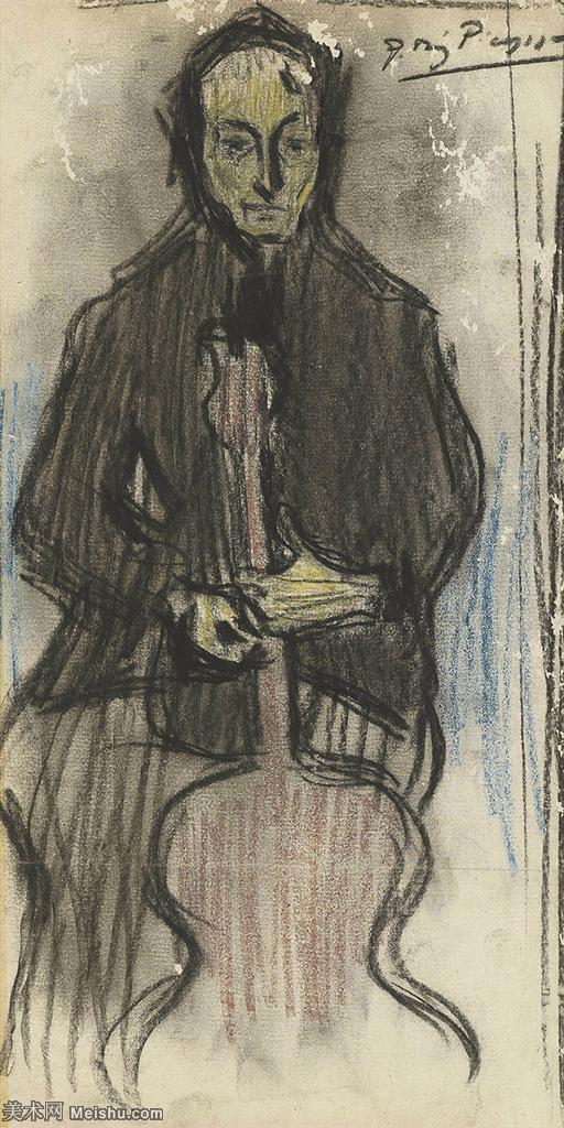 【欣赏级】SMR181128051-西班牙画家巴勃罗毕加索Pablo Picasso现代派素描毕加索手稿高清图片毕加索素