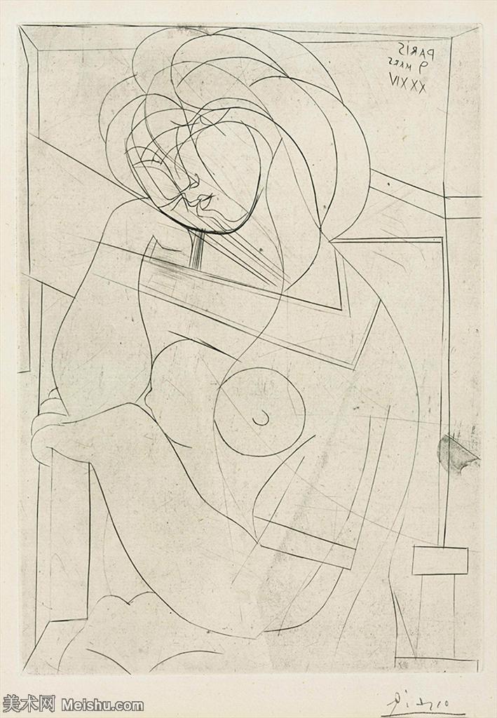 【欣赏级】SMR181128093-西班牙画家巴勃罗毕加索Pablo Picasso现代派素描毕加索手稿高清图片毕加索素