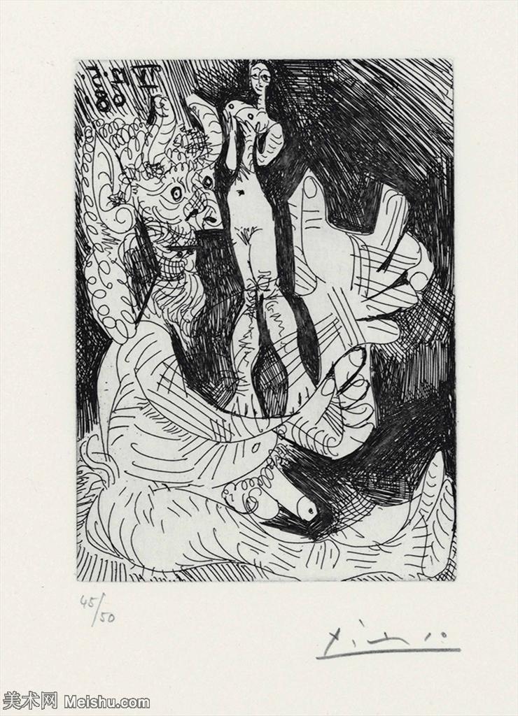 【打印级】SMR181128107-西班牙画家巴勃罗毕加索Pablo Picasso现代派素描毕加索手稿高清图片毕加索素