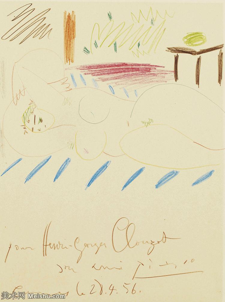 【打印级】SMR181128116-西班牙画家巴勃罗毕加索Pablo Picasso现代派素描毕加索手稿高清图片毕加索素