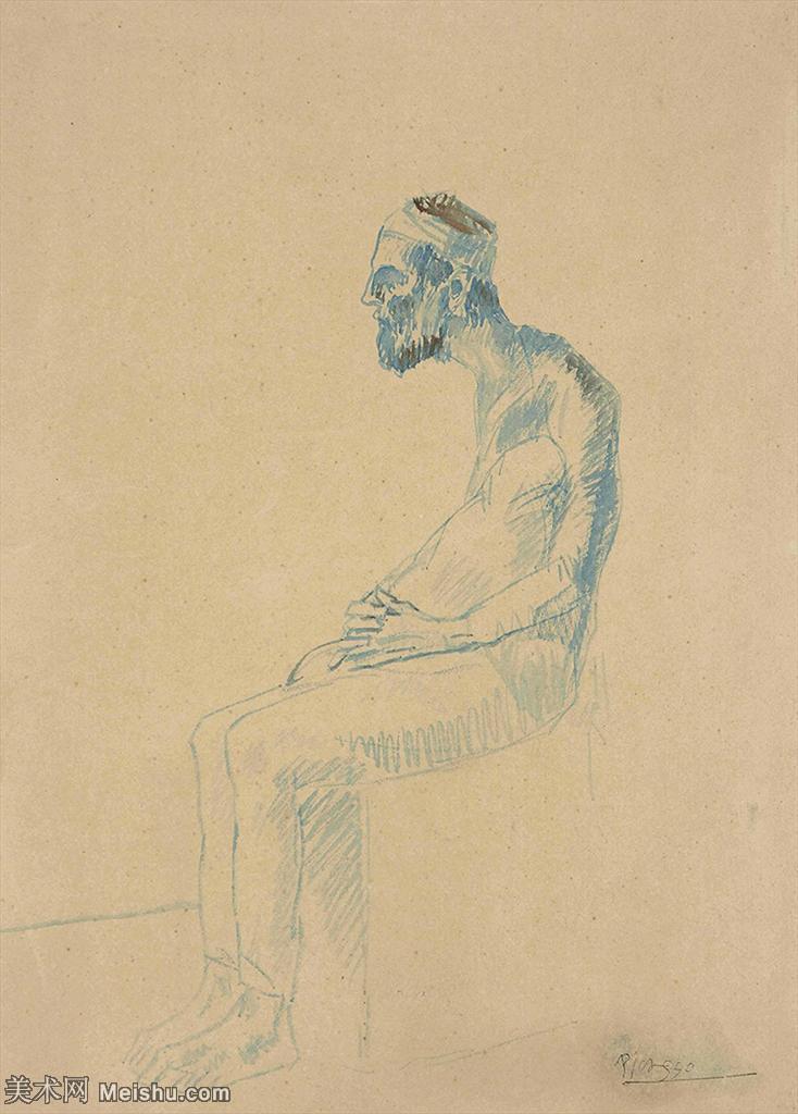 【打印级】SMR181128104-西班牙画家巴勃罗毕加索Pablo Picasso现代派素描毕加索手稿高清图片毕加索素