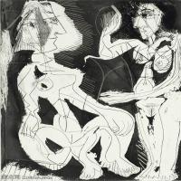 【打印级】SMR181128105-西班牙画家巴勃罗毕加索Pablo Picasso现代派素描毕加索手稿高清图片毕加索素描作品-21M-2305X3199