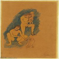 【印刷级】YHR181125178-西班牙画家巴勃罗毕加索PabloPicasso现代派绘画作品高清图片抽象油画高清图片印象派油画-77M-4500X6005