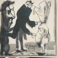 【打印级】SMR181128125-西班牙画家巴勃罗毕加索Pablo Picasso现代派素描毕加索手稿高清图片毕加索素描作品-22M-3199X2408