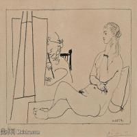 【打印级】SMR181128113-西班牙画家巴勃罗毕加索Pablo Picasso现代派素描毕加索手稿高清图片毕加索素描作品-21M-3199X2364