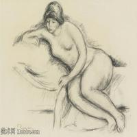 【打印级】SMR19154660-皮埃尔奥古斯特雷诺阿Pierre Auguste Renoir法国印象派重要画家雷诺阿印象派素描作品集-FEMME NUE SUR LE CANAPé DE NICE