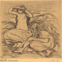 【打印级】SMR19154654-皮埃尔奥古斯特雷诺阿Pierre Auguste Renoir法国印象派重要画家雷诺阿印象派素描作品集The Two Bathers-22M-2639X3000