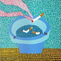 【欣赏级】YHR191319101-草间弥生Yayoi Kusama表现主义日本画家草间弥生绘画作品集-Ashtray1 Acrylic -18M-2398X2003