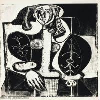 【打印级】SMR181128117-西班牙画家巴勃罗毕加索Pablo Picasso现代派素描毕加索手稿高清图片毕加索素描作品-21M-2387X3200