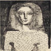 【打印级】SMR181128150-西班牙画家巴勃罗毕加索Pablo Picasso现代派素描毕加索手稿高清图片毕加索素描作品-22M-2457X3206