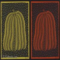 【欣赏级】YHR191319001-草间弥生Yayoi Kusama表现主义日本画家草间弥生绘画作品集-PUMPKIN- MEMORIAL SCARF IN SHANGHAI EXPO  print