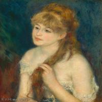 【打印级】YHR191548304-皮埃尔奥古斯特雷诺阿Pierre Auguste Renoir法国印象派重要画家雷诺阿印象派油画作品集  Young Woman Braiding Her Hair
