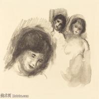 【打印级】SMR19154652-皮埃尔奥古斯特雷诺阿Pierre Auguste Renoir法国印象派重要画家雷诺阿印象派素描作品集 Stone with Three Sketches-22M-3