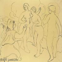 【打印级】SMR19154655-皮埃尔奥古斯特雷诺阿Pierre Auguste Renoir法国印象派重要画家雷诺阿印象派素描作品集ETUDE POUR LE JUGEMENT DE PÂ
