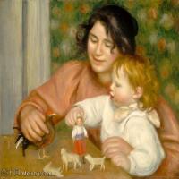 【打印级】YHR191548303-皮埃尔奥古斯特雷诺阿Pierre Auguste Renoir法国印象派重要画家雷诺阿印象派油画作品集 Child with Toys  Gabrielle and