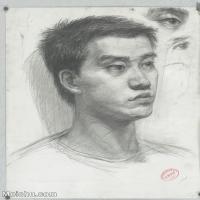 【印刷级】SM-10123111-素描头像美术高考素描优秀试卷八大美院男青年女青年高清图片-93M-4798X6804