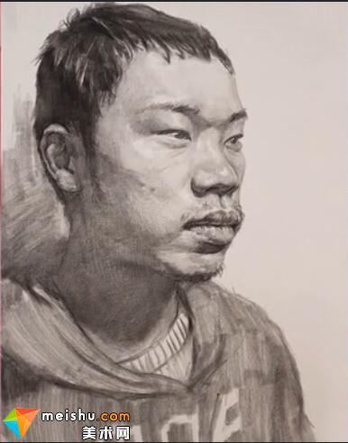 美术高考视频教学--素描男青年厚唇小眼摄像机头像