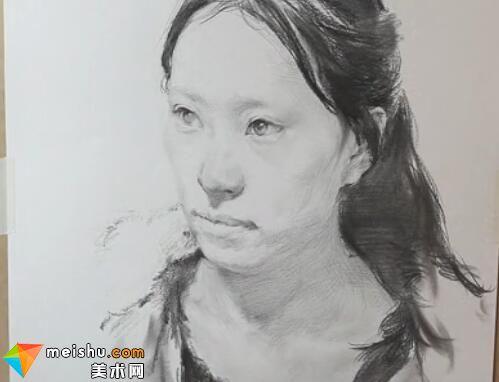 美术高考视频教学-师锋画素描长发女青年头像