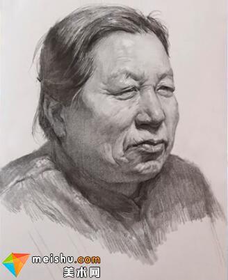 美术高考视频教学--素描栾树女老年头像
