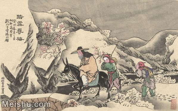 【超顶级】MSH1045民俗画踏雪寻梅杨柳青年画人物雪地梅花图片-103M-6427X4042_1529765.jpg