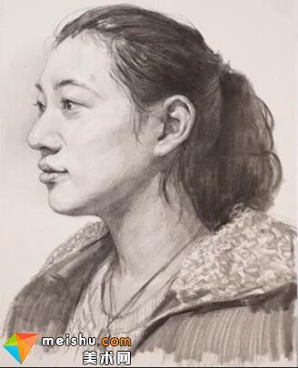 美术高考视频教学--素描栾树女青年侧面头像