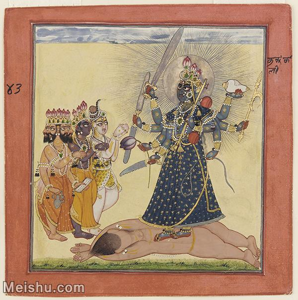 【打印级】YD12159603-印度画Goddess Bhadrakali Worshipped by the Gods