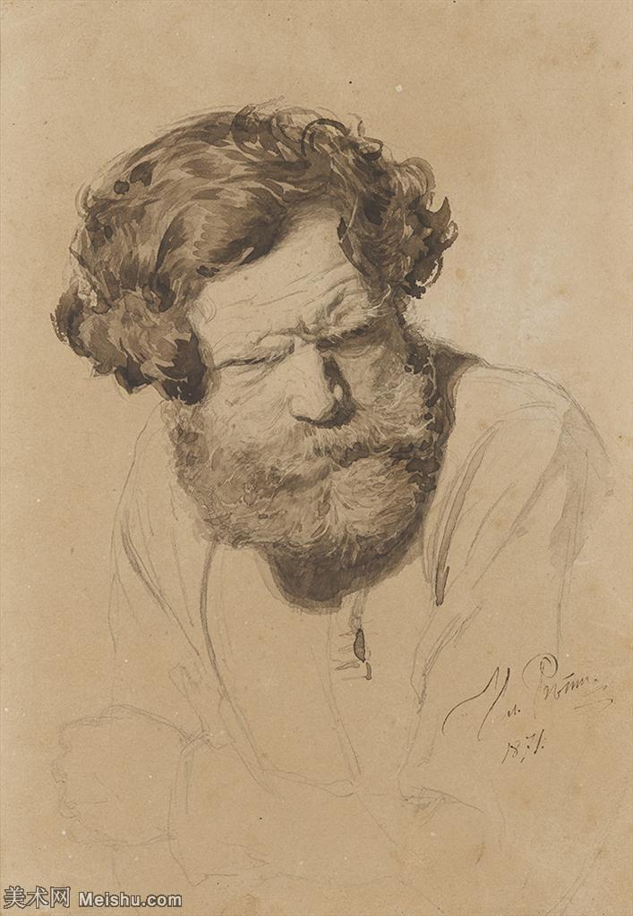 【打印级】SMR14154403-俄罗斯画家列宾Ilya Repin手绘素描速写作品图片素描手稿高清图片资料-31M-2