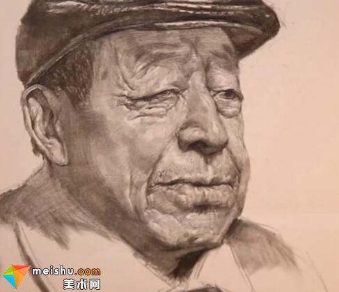 美术高考视频教学--素描栾树戴帽子老年男头像