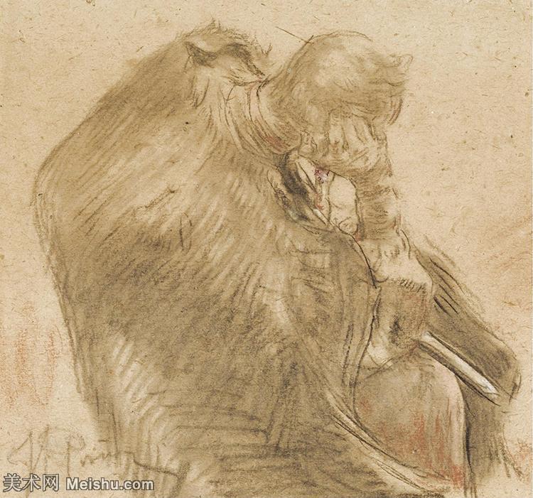 【欣赏级】SMR14154405-俄罗斯画家列宾Ilya Repin手绘素描速写作品图片素描手稿高清图片资料-10M-2