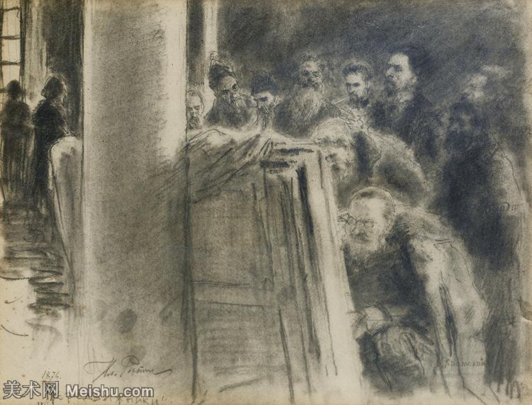【欣赏级】SMR14154406-俄罗斯画家列宾Ilya Repin手绘素描速写作品图片素描手稿高清图片资料-10M-2