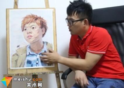美术高考视频教学--色彩头像橘发胖脸绿衣男青年