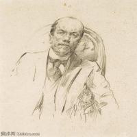 【欣赏级】SMR14154408-俄罗斯画家列宾Ilya Repin手绘素描速写作品图片素描手稿高清图片资料-9M-1677X1993