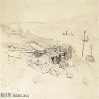 【欣赏级】SMR14154409-俄罗斯画家列宾Ilya Repin手绘素描速写作品图片素描手稿高清图片资料-8M-2000X1469